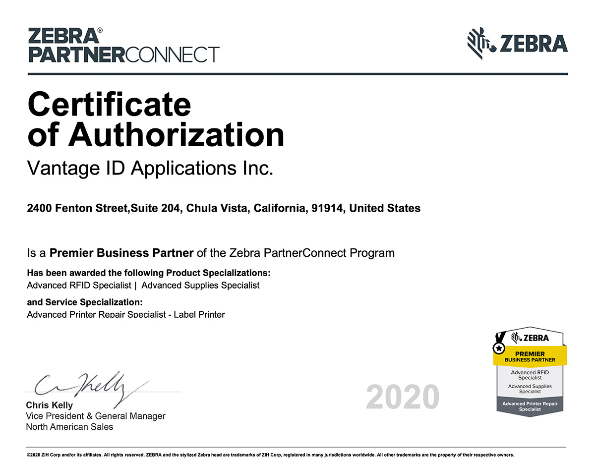 Certificate of Authorization 2020