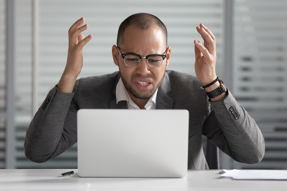 Employee frustrated at labeling error on computer
