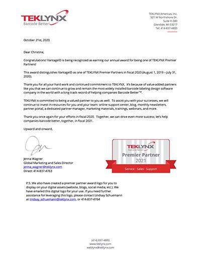 VantageID Premier Partner FY20 Letter