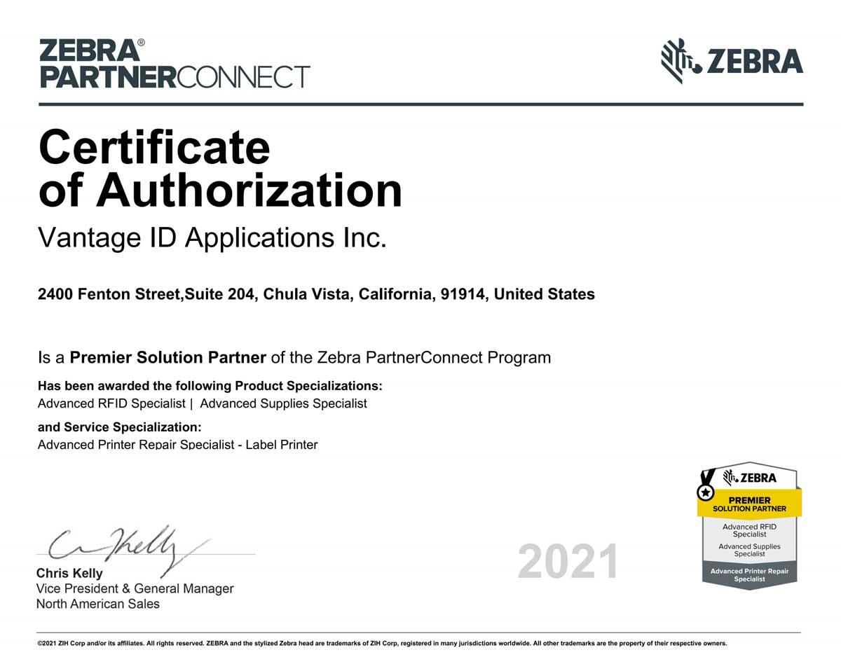 Zebra Premier Solutions Provide Certificate for Vantage ID